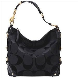 Coach Carly Canvas Shoulder Hobo Bag in Black